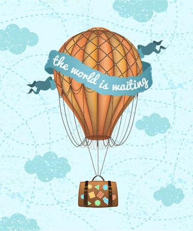 Ilustración de Vector conceptual art of hot air balloon with baggage. Concept of travel around world. - Imagen libre de derechos