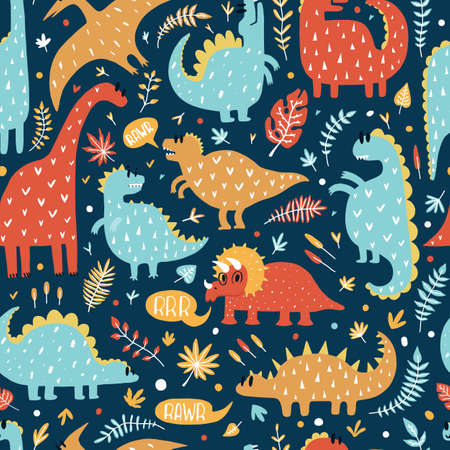 Illustration pour Seamless pattern of cute dinosaurs with tropical leaves. Hand drawn vector illustration. Cute design for kids. - image libre de droit