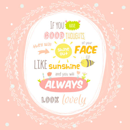 Greeting Card With Cute And Character Vector Illustration And