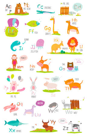 Cute vector zoo alphabet with cartoon and funny animals in vector. Letters. Learn to read. Isolated on white background.のイラスト素材