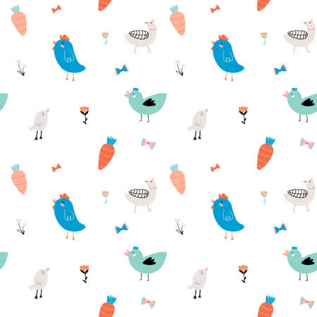 Cute scandinavian seamless pattern on white background in vector. Trendy illustration with funny birds and flowers. Good for birthdays cards, childish posters, calendar, stickers for boys and girls