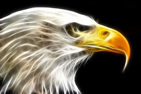 Bald Eagle rendered with electrical light rays