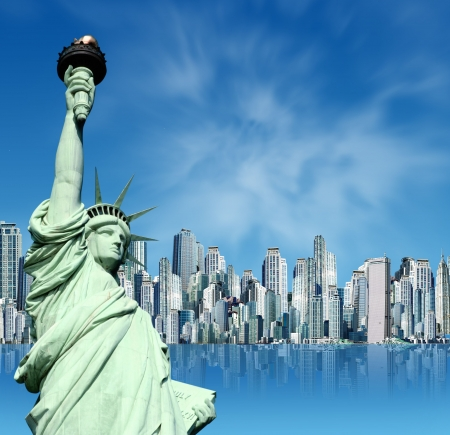 Statue of Liberty New York against a panorama of new york