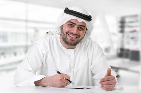 successful arabian businessman   executive in office