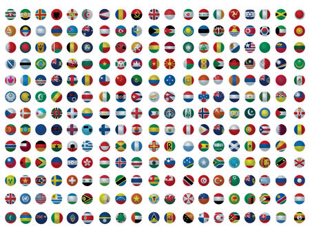 Icons with all the flags of the world set isolated on white