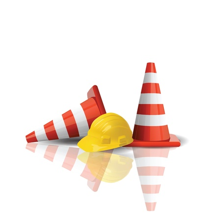 Illustration for Hard cap with traffic cones isolated  - Royalty Free Image
