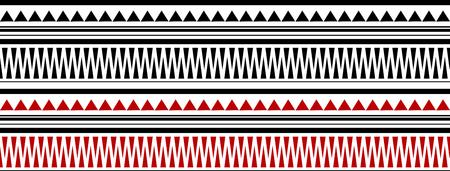 Red and Black Maori - Polynesian Bracelete Tatto Pattern on White Background