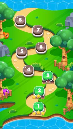 Illustration pour Level World Map for Mobile Games - Assets - For Game Reskin - image libre de droit