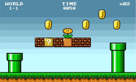 Illustration pour 8 bit pixel art platformer game asset - image libre de droit