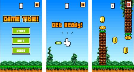 Illustration pour 8Bit Platformer Pixel Art - Mobile Game Assets / Sprites for Reskin - image libre de droit