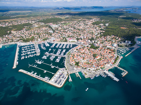 Aerial view of small town on Adriatic coast, Biograd na moru, Croatia