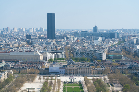 View of cityscape of Paris, France with major attractions of Paris
