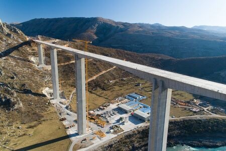 Construction of bridge of a new highway through the Moraca canyon in Montenegro, aerial