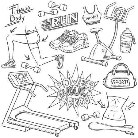 Gym doodles set: Royalty-free vector graphics