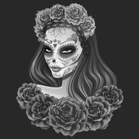 Illustration pour Beautiful sugar skull woman illustration. Day of dead vector illustration. - image libre de droit