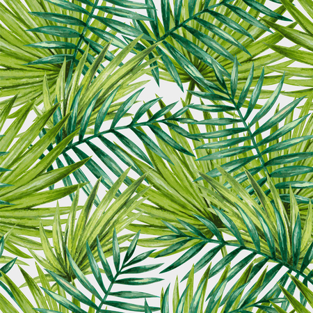 Illustration for Watercolor tropical palm leaves seamless pattern. Vector illustration. - Royalty Free Image