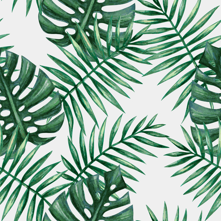 Ilustración de Watercolor tropical palm leaves seamless pattern. Vector illustration. - Imagen libre de derechos
