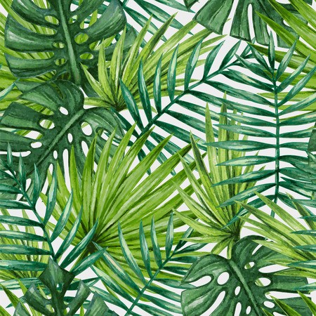Ilustración de Watercolor tropical palm leaves seamless pattern - Imagen libre de derechos