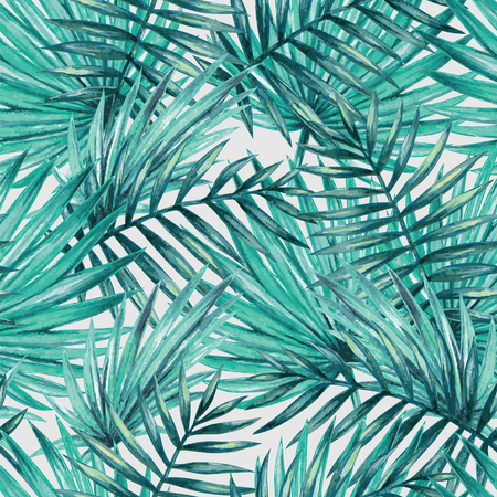 Illustration for Watercolor tropical palm leaves seamless pattern - Royalty Free Image
