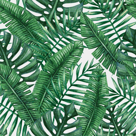 Illustration for Watercolor tropical palm leaves seamless pattern. - Royalty Free Image