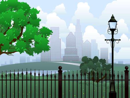 Illustration pour Cityscape summer park - image libre de droit