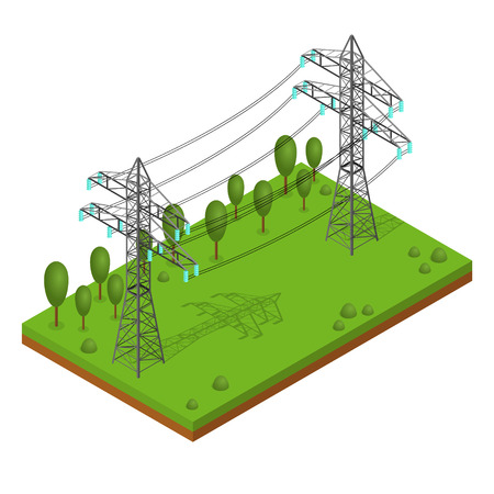 Power Lines Pylons. Landscape Support High Voltage. Isometric View. Vector illustration
