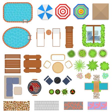 Illustration pour Cartoon Landscape Design Elements Set Top View. Vector - image libre de droit