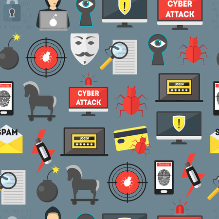 Cartoon Cyber Crime Security Seamless Pattern Background. Vector