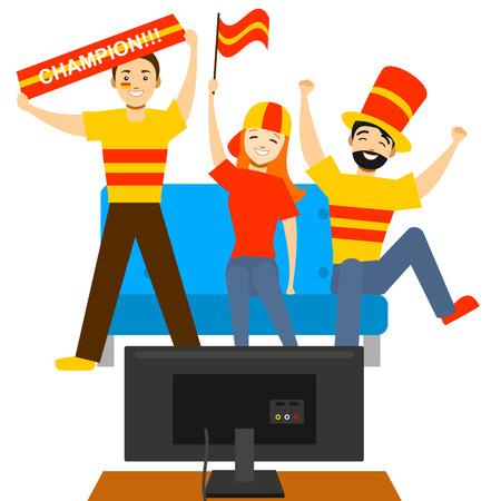 Illustration pour Cartoon Sport Fans People in front of Tv. Vector - image libre de droit