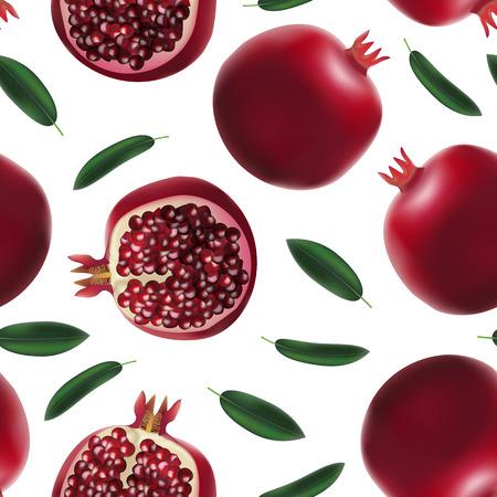 Illustration pour Realistic Detailed 3d Whole Pomegranate with Half Seamless Pattern Background Vector - image libre de droit