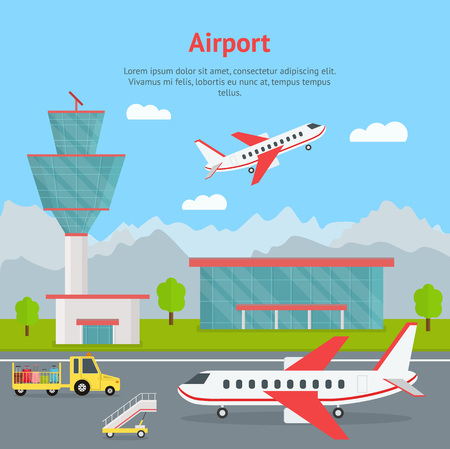 Ilustración de Cartoon Airport Building and Airplanes Concept Card. Vector - Imagen libre de derechos