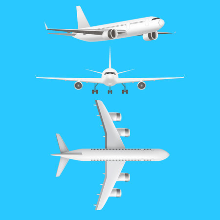 Ilustración de Realistic Detailed 3d Plane Set on a Blue Background Different View. Vector illustration of Jet or Airliner - Imagen libre de derechos