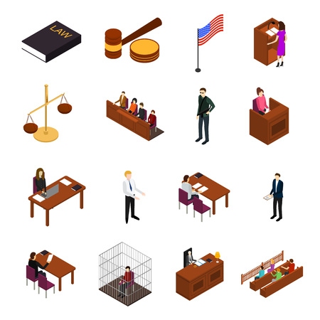 Illustration pour Court Session Law and Justice Concept Icons 3d Isometric View Include of Judge, Lawyer, Jury, Defendant and Witness. Vector illustration - image libre de droit