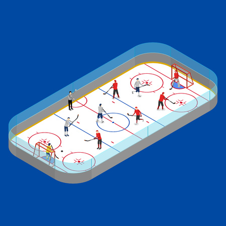 Illustration pour Ice Hockey Arena Competition or Professional Championship Concept on a Blue 3d Isometric View. Vector illustration of Winter Sport Stadium and Player - image libre de droit