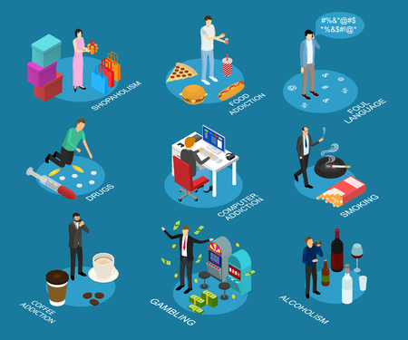 Illustration pour Bad Habits Sign 3d Icon Set Isometric View Include of Drug, Food Addiction, Alcohol and Shopping. Vector illustration of Icons - image libre de droit