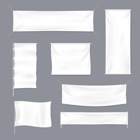 Illustration pour Realistic 3d Detailed White Blank Textile Advertising Banner Template Mockup Set. Vector illustration - image libre de droit