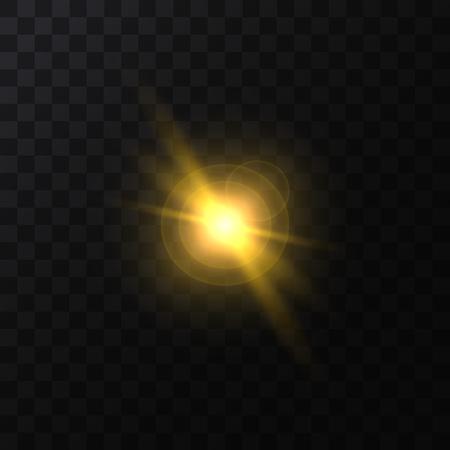 Realistic Detailed 3d Golden Star Light Sparkle on a Dark Background. Vector illustration of Magic Glittering Solar Effect