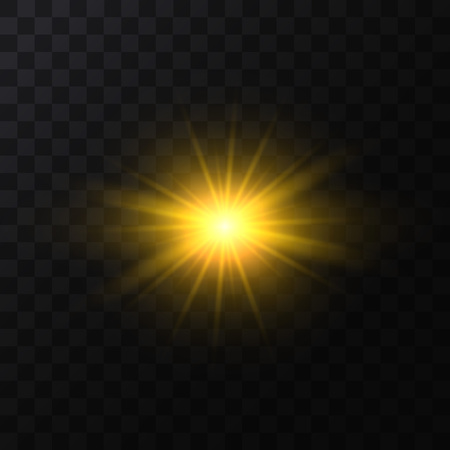 Realistic Detailed 3d Golden Star Light Sparkle on a Dark Background. Vector illustration of Magic Glittering Bright Effect