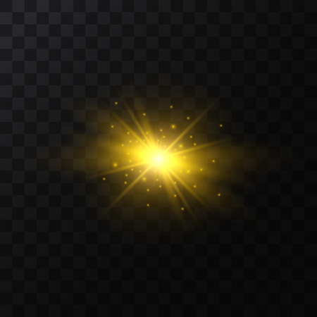 Realistic Detailed 3d Golden Star Light Sparkle on a Dark Background. Vector illustration of Magic Glittering Bright Optical Effect