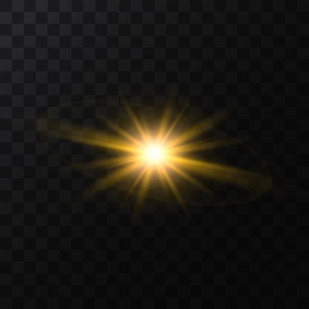 Realistic Detailed 3d Golden Star Light Sparkle on a Dark Background. Vector illustration of Magic Glittering Decoration Effect