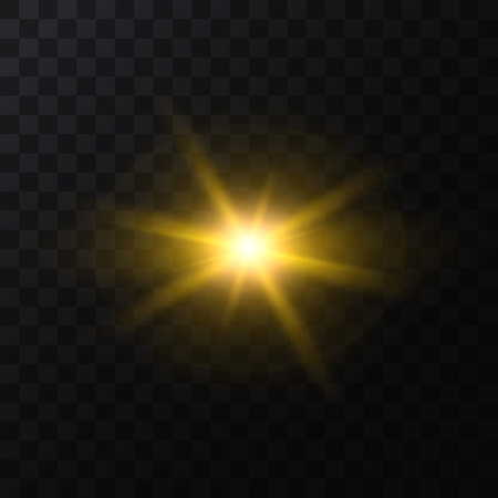 Realistic Detailed 3d Golden Star Light Sparkle on a Dark Background. Vector illustration of Magic Glittering Luxury Effect