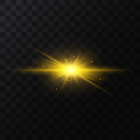 Realistic Detailed 3d Golden Star Light Sparkle on a Dark Background. Vector illustration of Magic Glittering Bright Decorative Effect