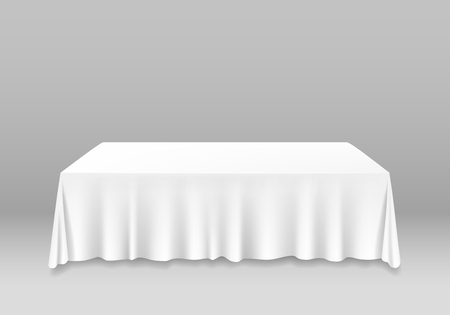 Illustration pour Realistic Detailed 3d White Blank Table with Tablecloth Template Mockup for Banquet or Celebration in Cafe and Restaurant. Vector illustration - image libre de droit