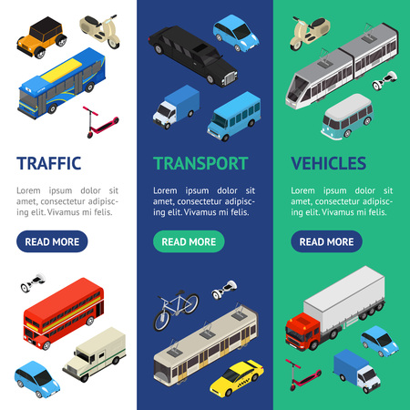 Illustration for Transport Car 3d Banner Vecrtical Set Isometric View. Vector - Royalty Free Image