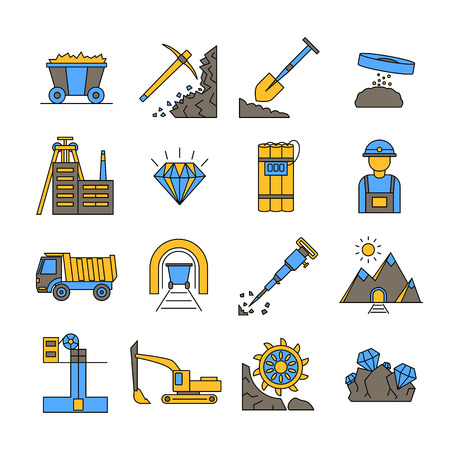 Illustration for Diamond Mining Signs Color Icon Set. - Royalty Free Image