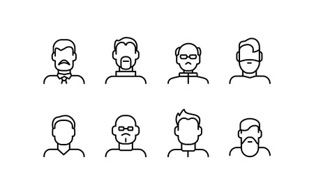Illustration for Male Face Various Types Signs Thin Line Icon Set. - Royalty Free Image
