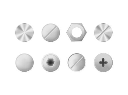 Illustration pour Realistic Detailed 3d Makeup Metal Screws and Bolts Set. Vector - image libre de droit