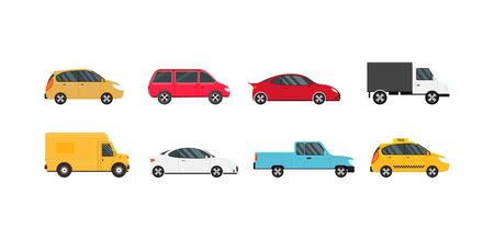 Illustration for Cartoon Color Modern Car Icons Set. Vector - Royalty Free Image
