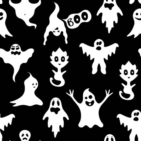 Illustration pour Cartoon White Ghosts Characters Seamless Pattern Background. Vector - image libre de droit