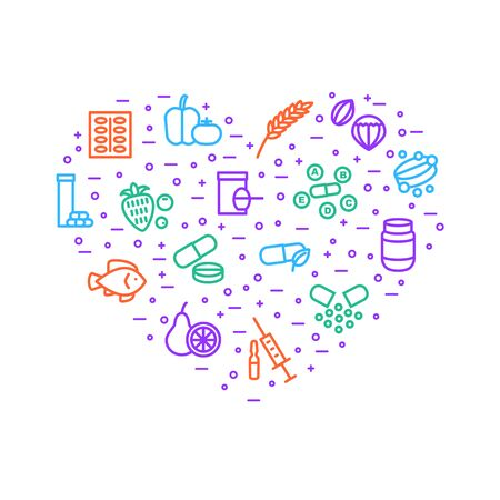 Illustration pour Vitamin and Dietary Signs Thin Line Heart Shape Design Template Include of Supplement, Bottle, Food, Pill, Tablet and Fruit. Vector illustration of Icons - image libre de droit